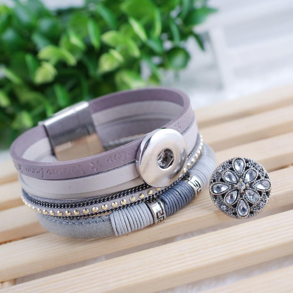הצמד צמידים & צמידים Multilayer עור צמידים פיט 18mm מצמד כפתור לנשים לעטוף רב שכבתי pulseras mulher תכשיטים