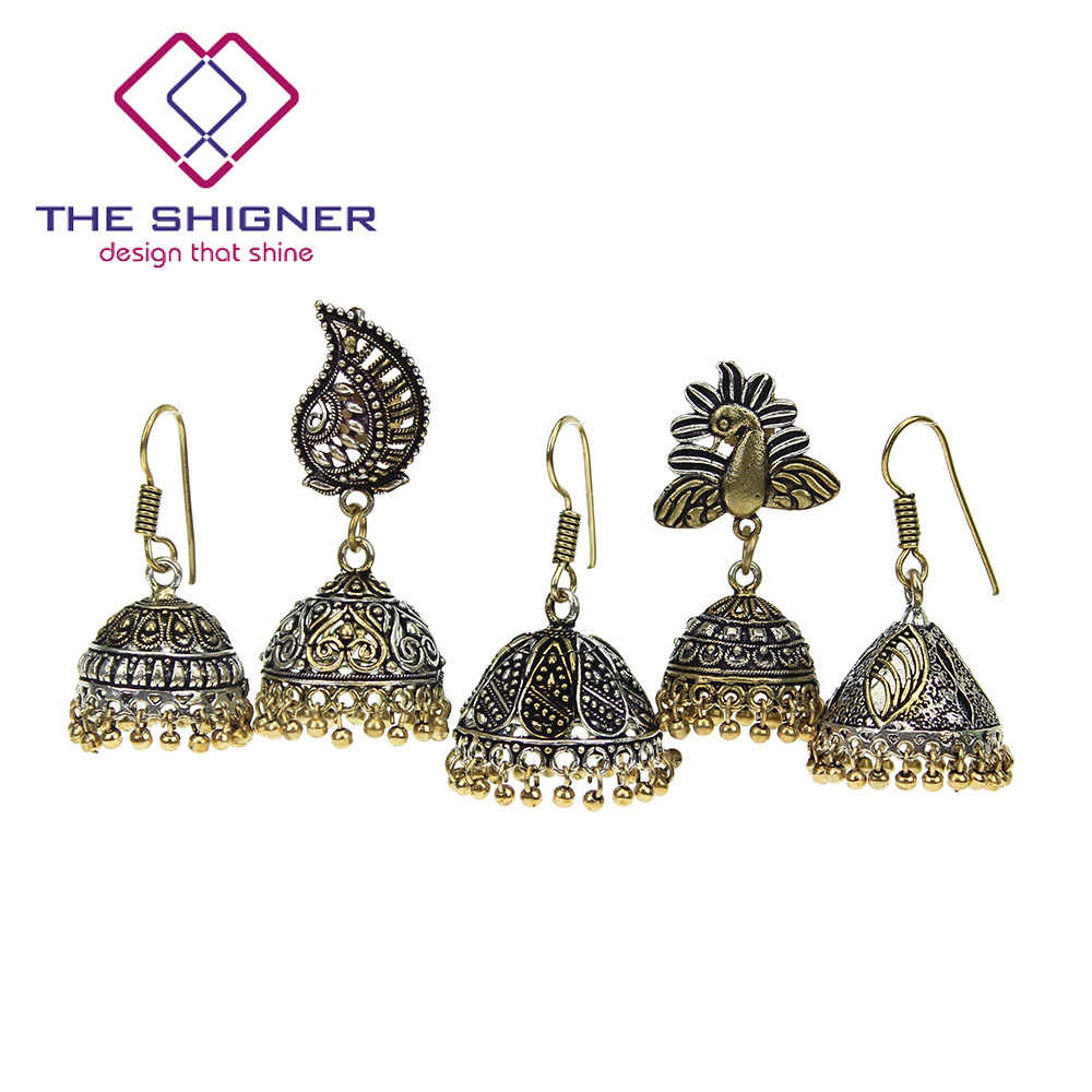 2677e4430 THE SHIGNER Oxidized Dual Tone Traditional Indian Jewelry Bollywood Ethnic  Handcrafted Kashmiri Jhumka Jhumki Dangle Earrings