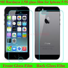 Hot sale 9H hardness tempered glass 0.3MM  frong and back cover for iphone 5 5s HD clear screen protective on the Iphone5s