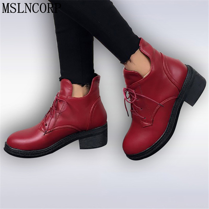 New Fashion Women's Lace Up Combat Punk Ankle Martin Boots Female Shoes Autumn Winter Hot Sell Women Snow Boots plus size 34-43 2017 new autumn winter shoes for women ankle boots genuine leather boots women martin boots lace up platform combat boots botas
