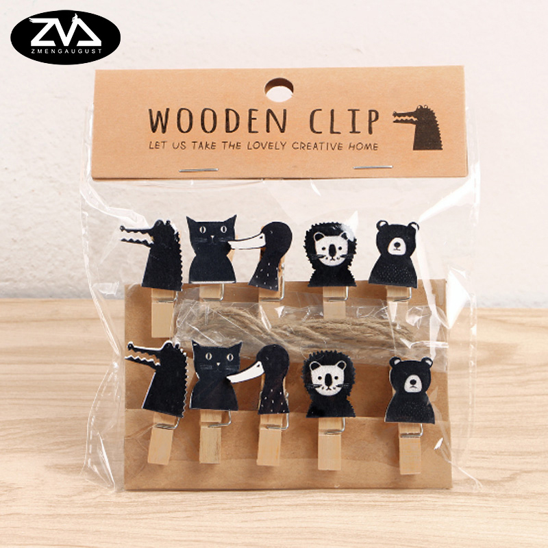 Office Binding Supplies Hospitable 10pcs/lots Creative Crocodile Wooden Clip Photo Paper Postcard Craft Diy Decoration Clips Office Binding Supplies With Hemp Rope