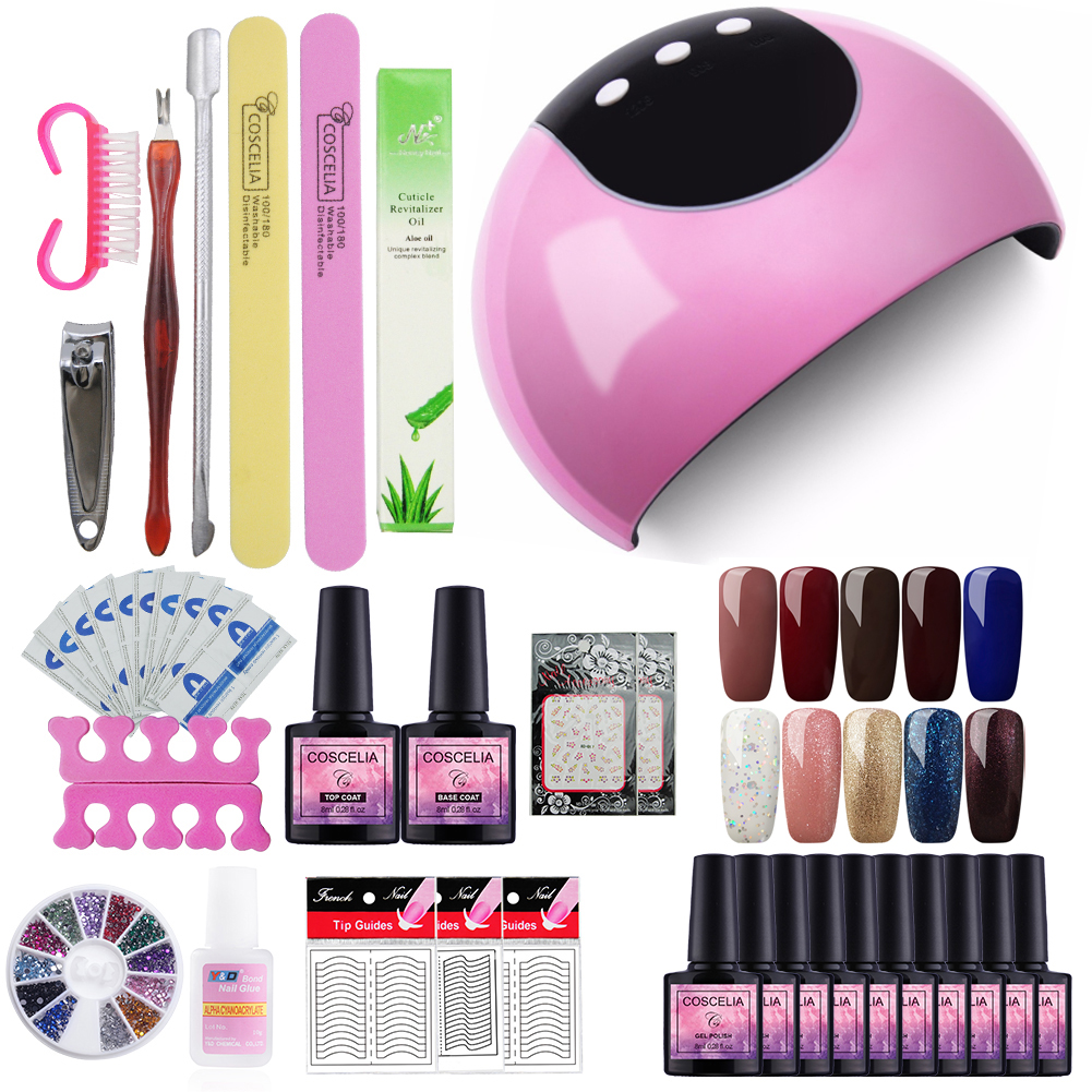 Full Kit Manicure Set 24W Dryer Lamp For Nails Set For Gel Nail Polish Set For Manicure Nail Extension Set 10 Colors Gel Varnish m theory nails wraps stickers eastern plum flower 3d nails arts polish sticker gel varnish decals manicure decorations