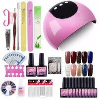 Full Kit Manicure Set 24W Dryer Lamp For Nails Set For Gel Nail Polish Set For Manicure Nail Extension Set 10 Colors Gel Varnish