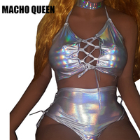 Holographic Crop Top Sets Laser 3 Piece Sets Rave Fetival Clothes Outfits Hologram Laced Up Tank