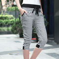 New Design 2016 Summer Harem Pants Women Fashion Black White Plaid Elastic Waist Casual Trousers Brand Quality Plus Size Pants