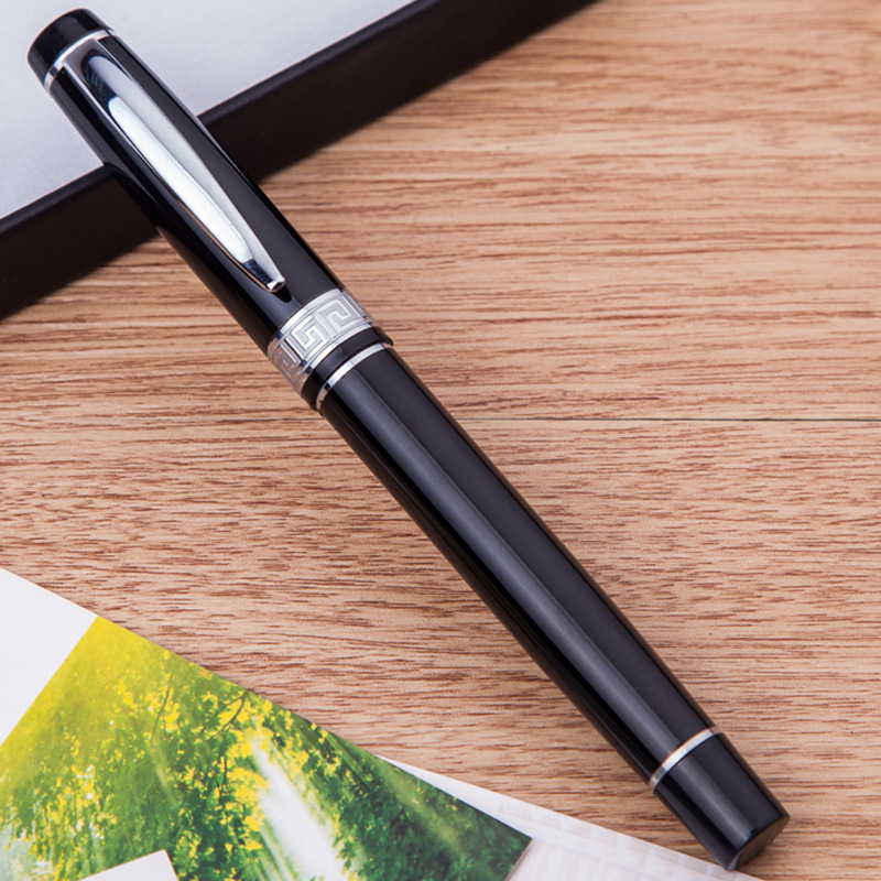Pen cover decoration metal pen  metal ball point pen, business quality advertisement gift pen  school office supplies Black