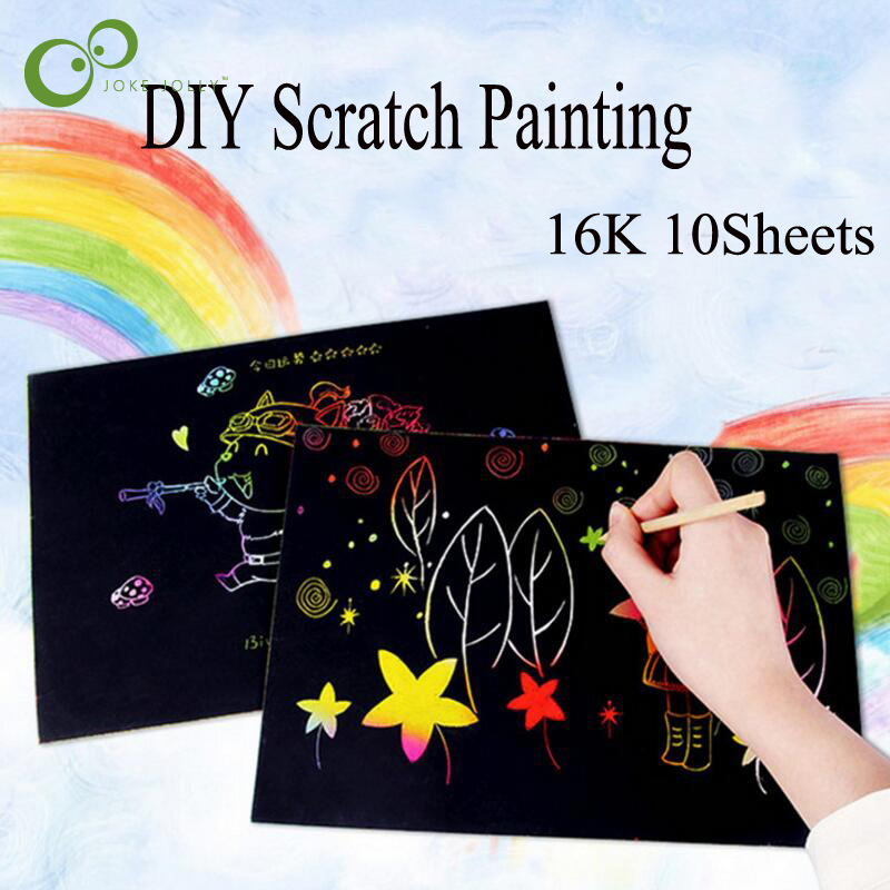 New Arrive 10 Sheets 16k Colorful Scratch Art Paper Magic Painting Paper Plus Drawing Stick Diy Toy Wyq Learning & Education