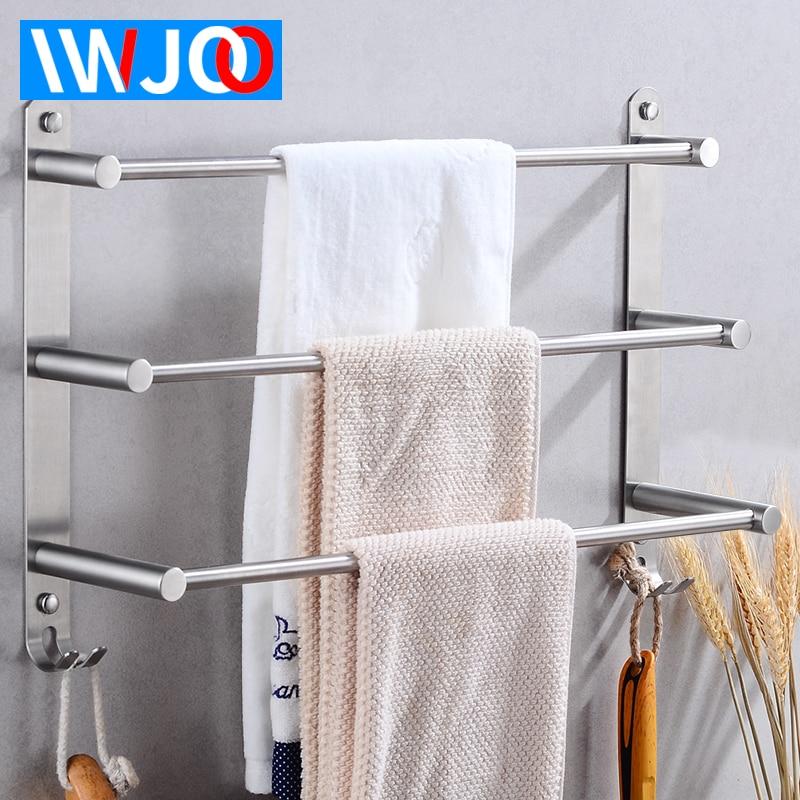 Stainless Steel Towel Bar Bathroom Towel Holder Three Layer Towel Rack Hanging Holder Wall Mounted Towel Shelf Rack With Hooks