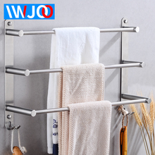 цена на Stainless Steel Towel Bar Bathroom Towel Holder Three Layer Towel Rack Hanging Holder Wall Mounted Towel Shelf Rack with Hooks