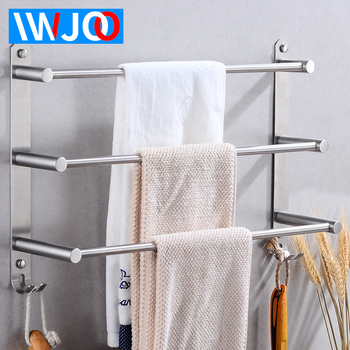 Stainless Steel Towel Bar Bathroom Towel Holder Three Layer Towel Rack Hanging Holder Wall Mounted Towel Shelf Rack with Hooks towel holder stainless steel doubel towel bar holder bathroom towel rack hanging holder wall mounted toilet clothes hanger shelf