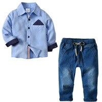 Long Sleeve England Style Fashion Boys Clothing Set Top Quality Handsome Blue T Shirts Elastic Waist