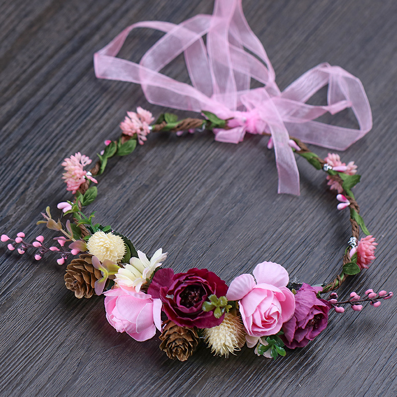 Bohemian Pink Bridal Wreath Headdress 2019 New Forest Queen Branch Decoration Bridesmaid Headdress Wedding Accessories Red Rose