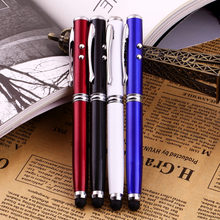 Touch Screen Stylus Ballpoint Pen Compatible 4 in 1 LED Laser Pointer Torch for iPhone for Ipad for Samsung 4 Colors Optional(China)