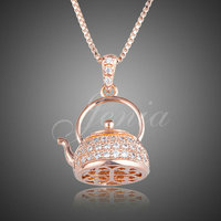 Valentine S Day Gift Teapot Necklace Rose Gold AAA Swiss Zirconia Teapot Pendant Necklace Jewelry FREE