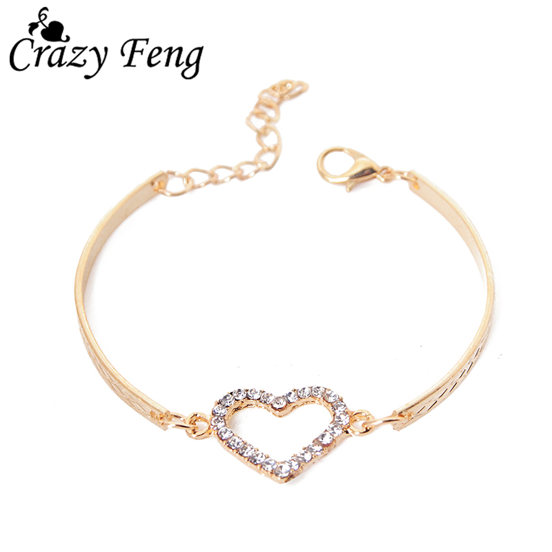 Romantic Love Heart Shaped Charm Bracelets Bangles Jewelry For Women Gold color Austrian Crystal Chain Bracelet