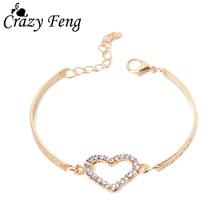 Romantic Love Heart Shaped Charm Bracelets Bangles Jewelry For Women Gold-color Austrian Crystal Chain Bracelet Pulseras