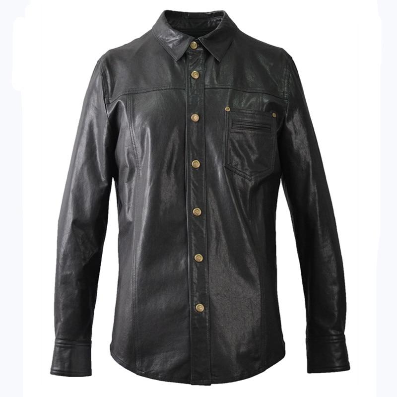2019 Black Men Fashion Casual Leather Shirt Single Breasted Plus Size XXXXL Genuine Thin Sheepskin Natural Coat FREE SHIPPING jaqueta de couro personalizada
