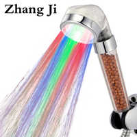 ZhangJi Bathroom Water-Saving Led Shower Head 7 Color Change Randomly Regendusche Handdouche Met Led Ducha Bath Led Shower Head