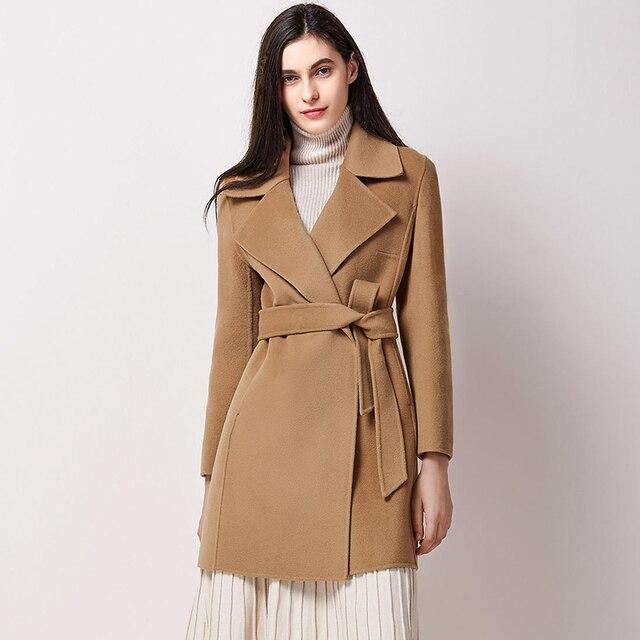 3521258ee92d1 Signore 100% Lana Giacche Ufficio Moda 2017 Nuovi Cappotti Cammello Con  Cintura Cashmere Cappotti Giacche
