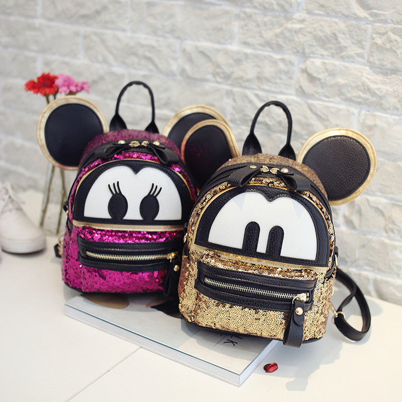 Child Cartoon Backpack Cute Mickey Bag for Women Sequined Leather Double Strap Backpack with Star Rivet