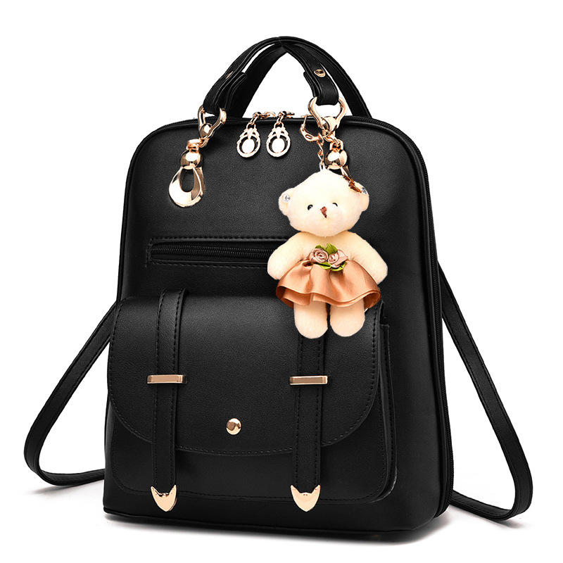 New Fashion Women Backpacks Bag Girl's School Travel Bag Black Blue Red PU Leather Waterproof Shoulder Bags Not Bear Gift