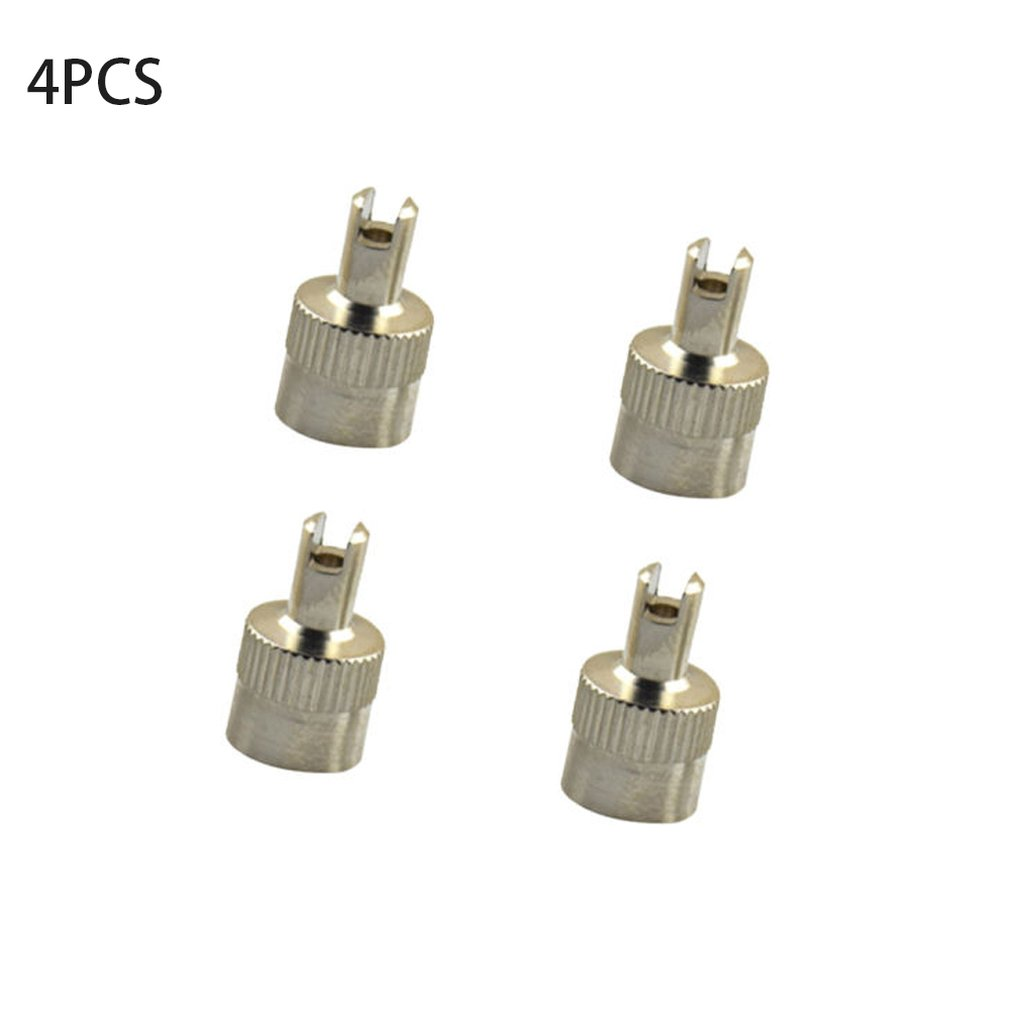 4pcs Copper Slotted Head Vehicle Tire Wheel Tool Cap Valve Caps US Type Core Removal Tool For Cars Vehicles
