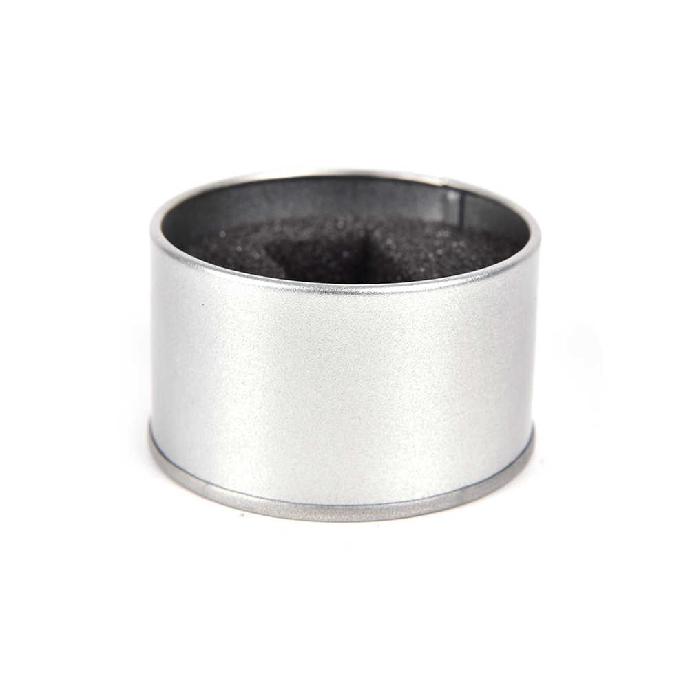 الفضة ساعة مجوهرات معدنية مستديرة هدية شاشة عرض صناديق مع وسادة ساعة منظم حامل الصندوق عرض 6.5*4 سنتيمتر