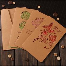 Retro Hollow Kraft Paper Greeting Card Creative Business Gift  Fathers Mothers Day Blessing Wedding Cards 10pcs/pack