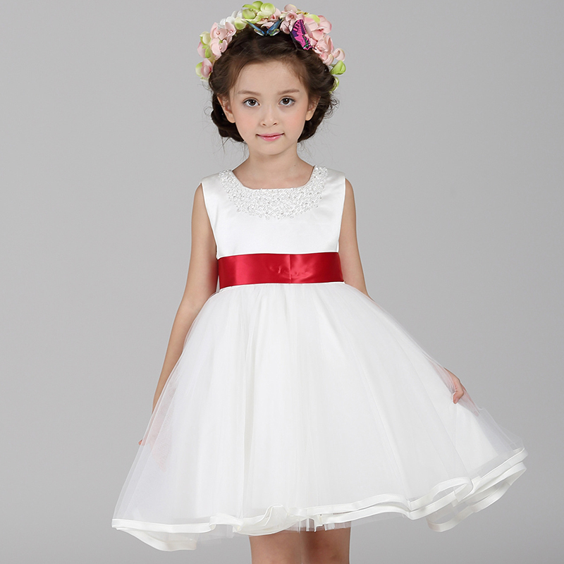 Flower Girl White Dresses For Weddings Girls Kids Dresses Autumn Princess Tutu Dress Party Baby Sleevele Lace Mesh Girls Clothes