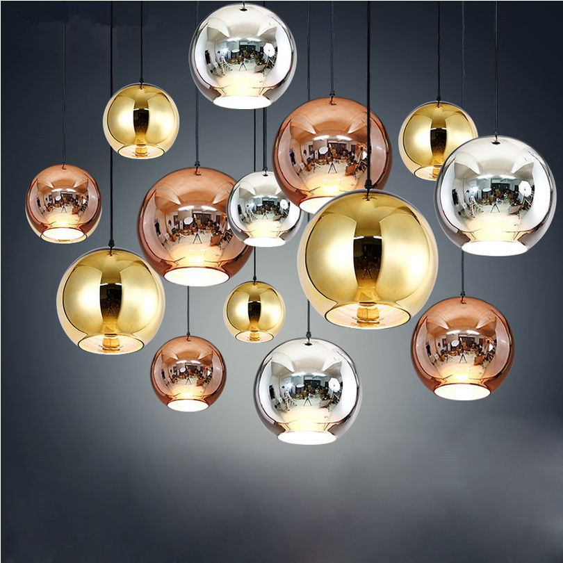 Post-modern  Pendant Lights Electroplated Glass Bubble Ball LED Hanging Lamp Living Room Kitchen Dining Room Lights