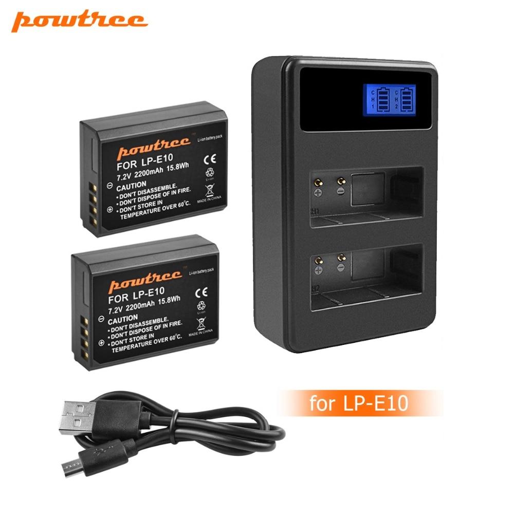 Cámara de batería cargador dual para Canon EOS 1200d lp-e10