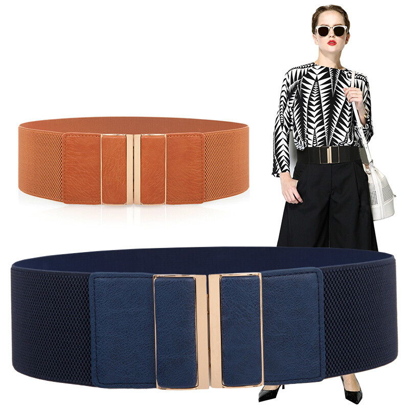 Apparel Accessories 7.5cm Wde Waistband Fashion High Elastic Skirt Dress PU Leather Material Mental Stable Buckles Waist Sealing