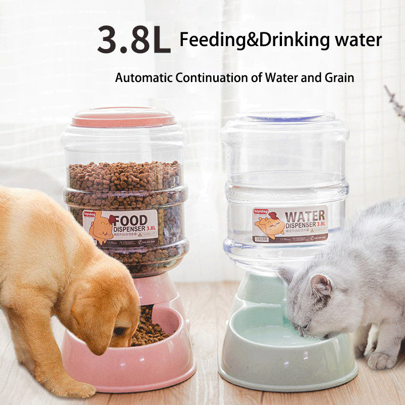 Pet Automatic Drinking Fountains Grain Storage Bucket Cat Water Dispenser Teddy Automatic Feeding Device 3.8L Big Dog Supplies image