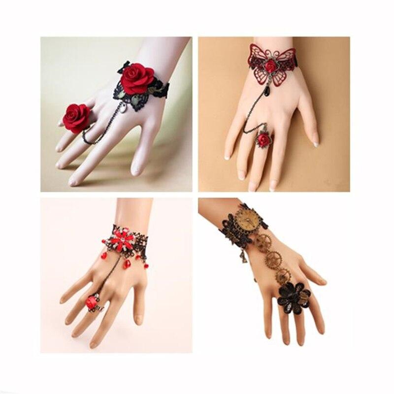 Cosplay Gong Yan Vintage Steampunk Butterfly Black Lace Rose Lace Bracelet Palace Ball Lady Bracelet Arm Set