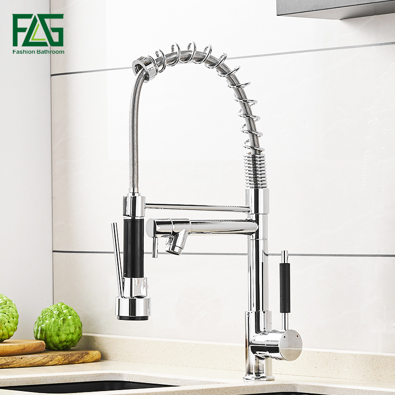 FLG Kitchen Faucet Chrome Silver Brass Pull Out Spring Kitchen Sink Faucet Swivel Spout Tall Vessel Mixer Tap Torneira Cozinha