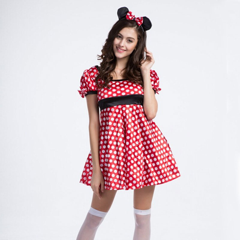 Halloween Costumes Clothes Adult Red Polka Dot Mouse Costume Dress Cosplay Uniform Performance For Women