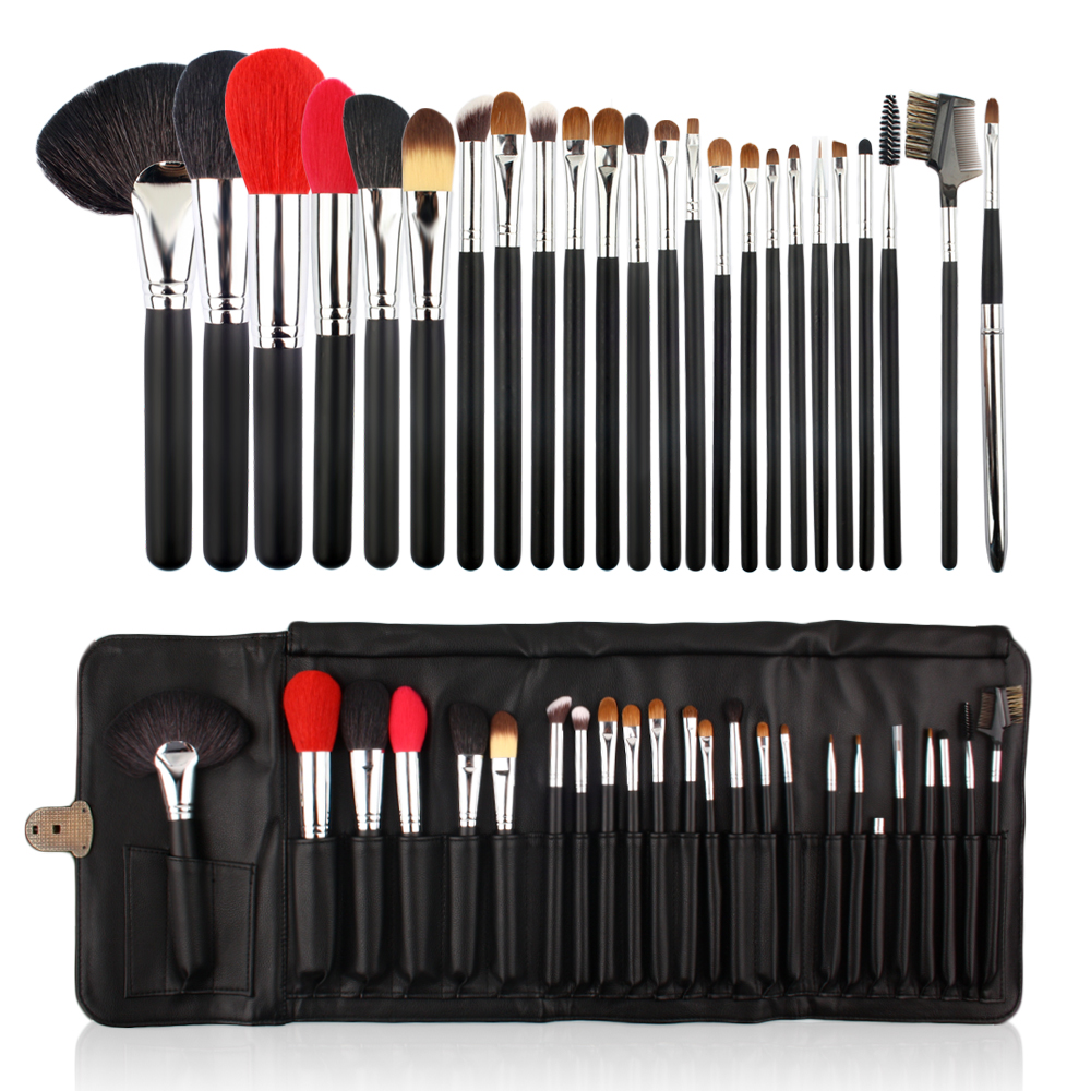 ISMINE Pro 24 Pcs Makeup Brushes Set Powder Blusher Make Up Brush Wood Handle Animal Hair Face Lip Eyes Brush with Leather Bag 24 pcs make up brushes set high quality synthetic hair metal wood handle eye shadow eyeliner brush for makeup brush set