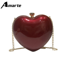 2019 New High Quality  Womens Chain Bags Luxury Designer Heart Shape Young Lady Crossbody Bag Gift for Girl PU Shoulder