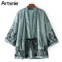 Boho Floral Print Velvet Kimono Blouse Women Autumn Winter 2 3 Batwing Sleeve Open Stitch Bow