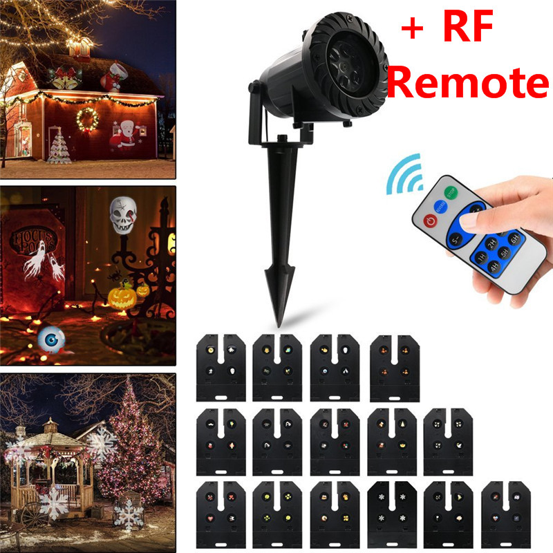 Oobest Chrismas Decoration Waterproof Outdoor LED Stage Lights With 15 Replaceable Patterns Christmas Laser Projector Lamp rg mini 3 lens 24 patterns led laser projector stage lighting effect 3w blue for dj disco party club laser