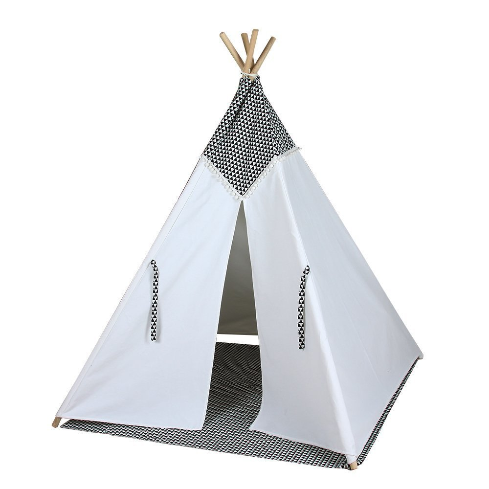 competitive price 2f6d4 8fc57 US $109.0 |4 poles black and white color teepee kid play tent cotton canvas  kids teepee children bed tent indoor-in Toy Tents from Toys & Hobbies on ...