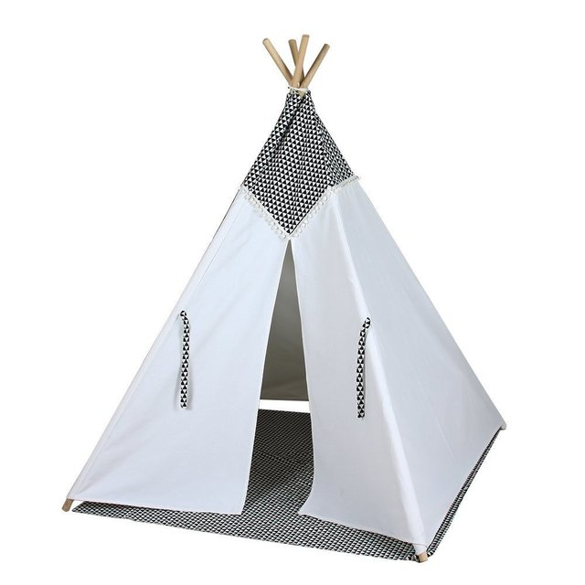 4-poles black and white color teepee kid play tent cotton canvas kids teepee children  sc 1 st  AliExpress.com & 4 poles black and white color teepee kid play tent cotton canvas ...