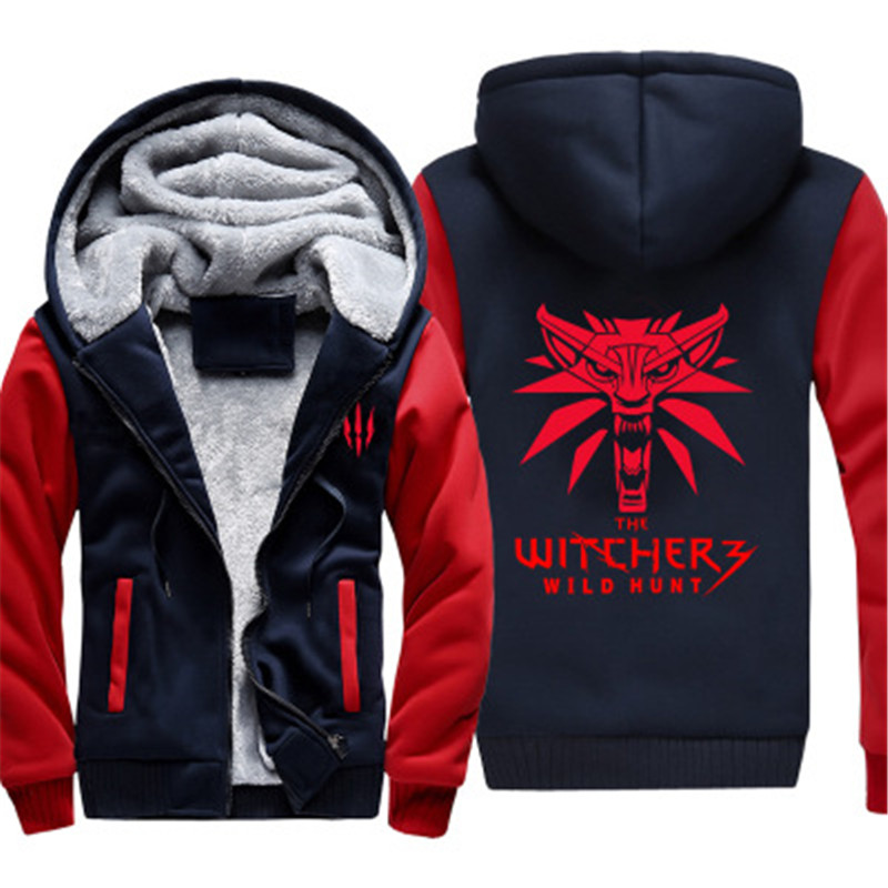 Dropshiping EU SIZE High Quality Winter Game Under The Witcher Wolves Thick Hoodie For Man Women Anime Zipper Coat Cosplay