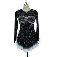 Черный Фигурное катание платья на заказ женщины конкурс катание платье Ice Одежда для девочек Кристаллы Бесплатная доставка F44