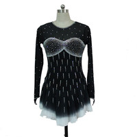 black figure skating dresses custom women competition skating dress ice girls clothing crystals free shipping F44