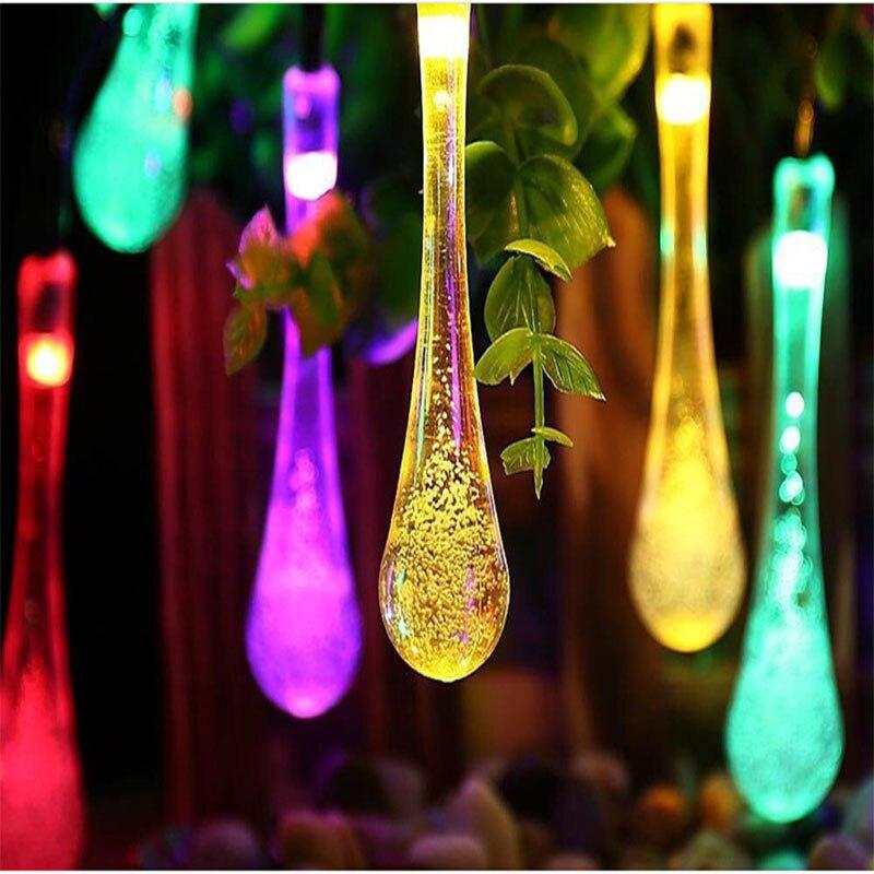 Goutte d'eau solaire lumière cordes 30 lumière créative LED batterie lumières avec décoration de noël lumière douce belle paire d'art