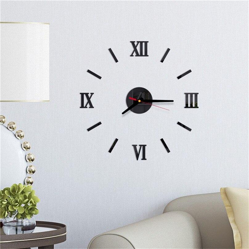 New Wall Clock 3D DIY Roman Numbers Acrylic Mirror Wall Sticker Clock Living Room Decor Mural Decals Home Decor #4M20