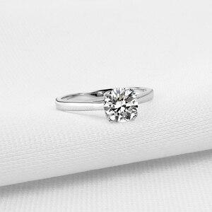 Image 2 - QYI Fijne Sieraden 925 Zilveren Ringen Solitaire 6mm 1ct Ronde Cut Sona CZ Stone Wedding Engagement Ring Voor Vrouwen gift