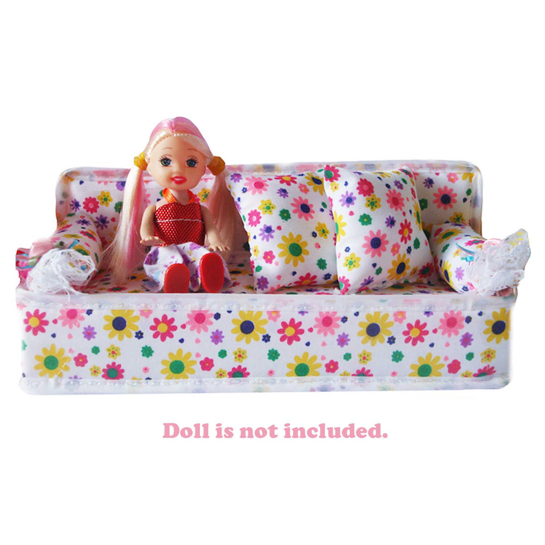 Дети Мини кукла цветочный принт Диван Миниатюрный Кукольный домик мягкая мебель с 2 подушки аксессуары для Барби игрушка