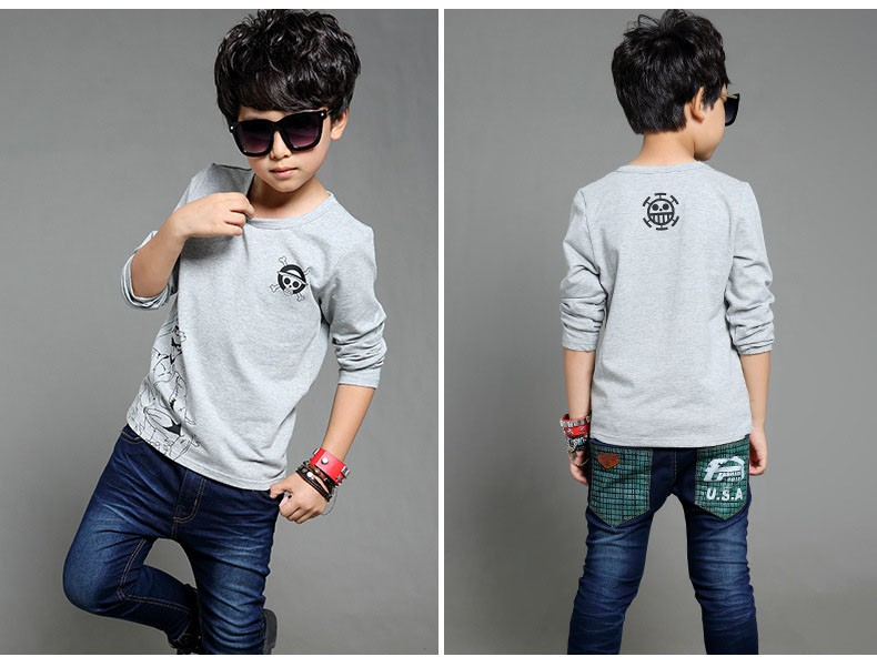 anime Skull sprinted kid t-shirt for boys clothes t-shirt long sleeve white gray cartoon children tops tees boys spring autumn 2017 new clothing (1)